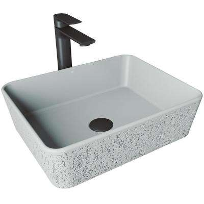 Zinnia Concrete Vessel Sink in Ash with Faucet in Matte Black