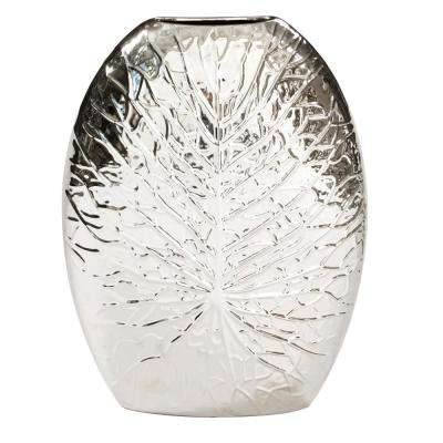 Large Silver Metallic Crackled Leaf Decorative Vase