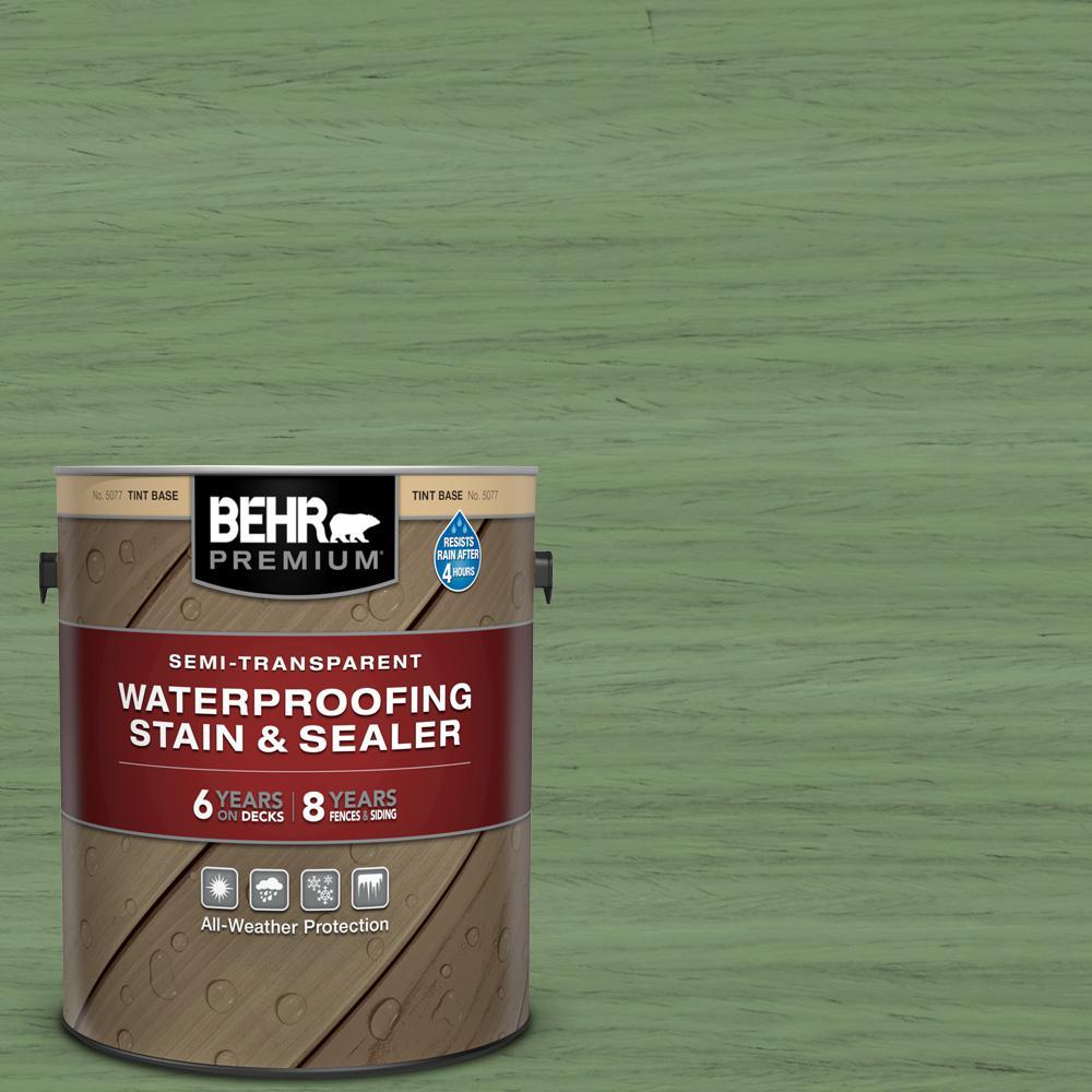 BEHR PREMIUM 1 gal. #ST-132 Sea Foam Semi-Transparent Waterproofing Exterior Wood Stain and Sealer