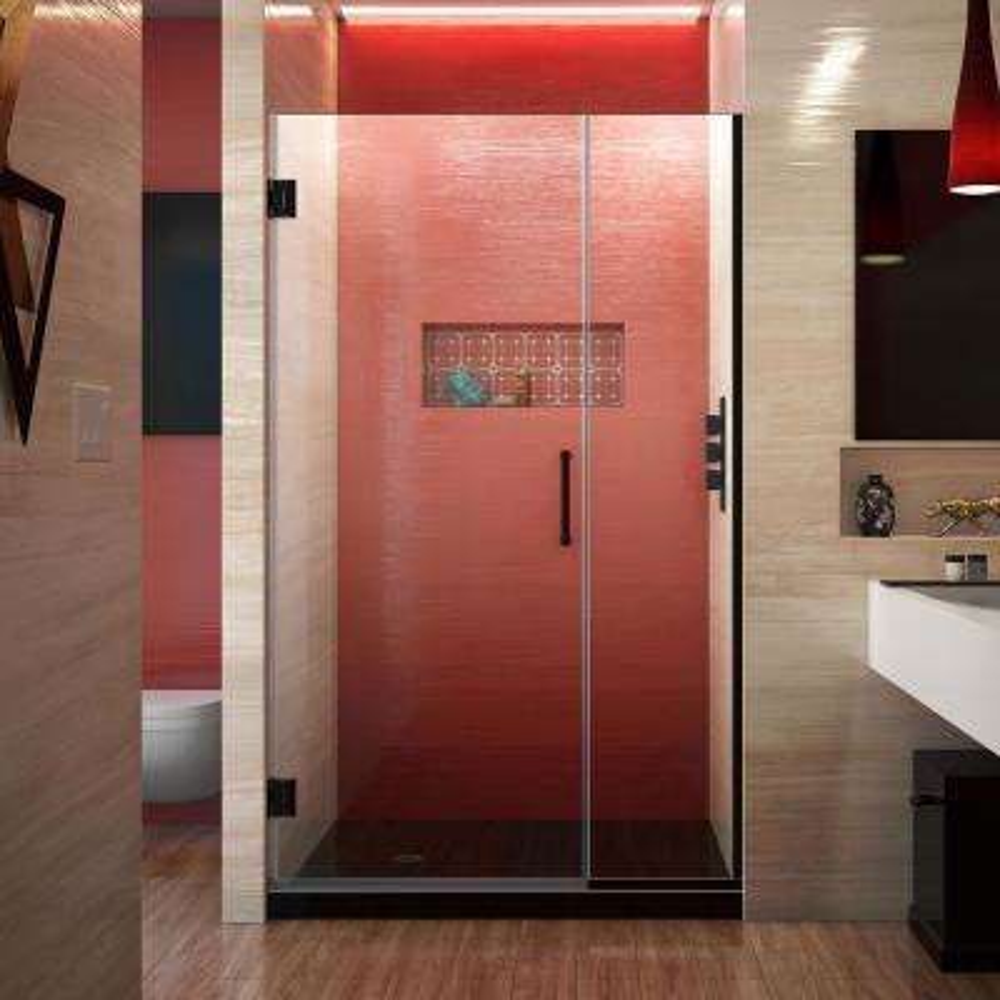 Unidoor Plus 42 to 42.5 in. x 72 in. Frameless Hinged Shower Door in Satin Black