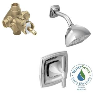 shower head and faucet combo. MOEN Voss Single Handle 1 Spray PosiTemp Shower Faucet Trim Kit with Valve  in Chrome Included T2692EP 2520 The Home Depot