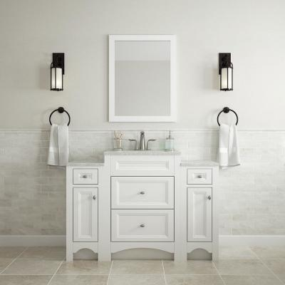Modular 24-1/2 in. W Bath Vanity in White with Solid Surface Technology Vanity Top in Silver Fox with White Basin