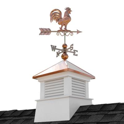 Manchester 18 in. x 18 in. x 40 in. Square Vinyl Cupola with Rooster Weathervane