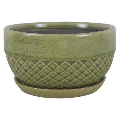 8 in. Dia Green Acorn Ceramic Low Bowl