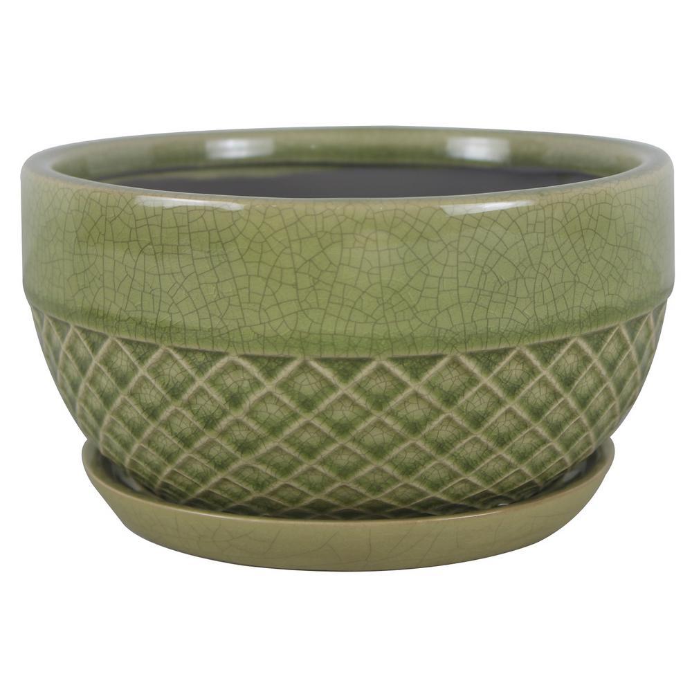 8 in. Dia Green Acorn Ceramic Low Bowl