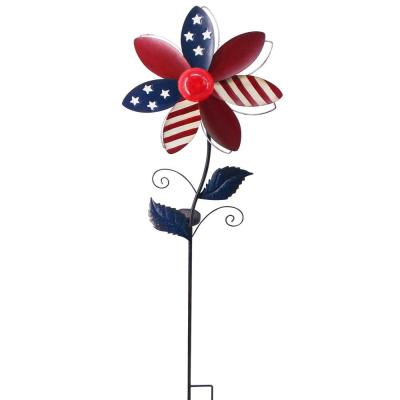 Patriotic Pointed Flower Windmill Solar Stake Light