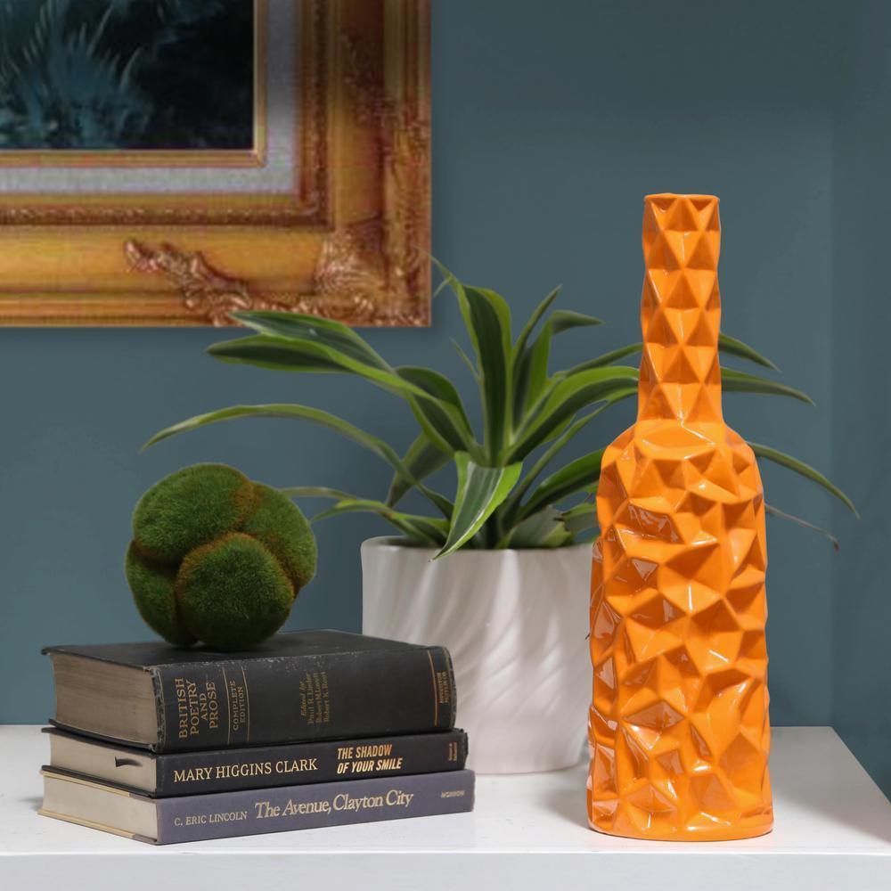 Orange Gloss Finish Ceramic Decorative Vase