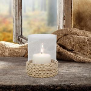 6 in. Natural Glass Candle Holder