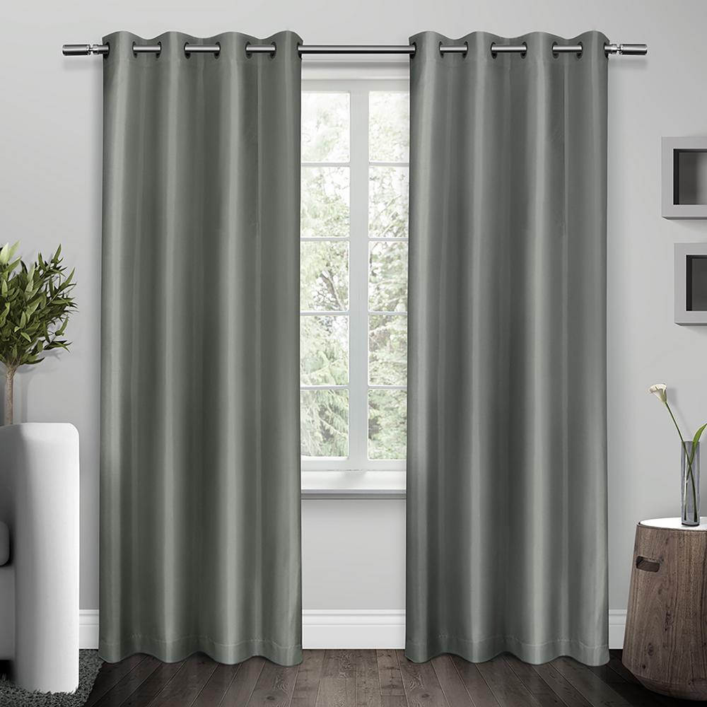 Shantung Steel Blue Faux Silk Thermal Grommet Top Window Curtain