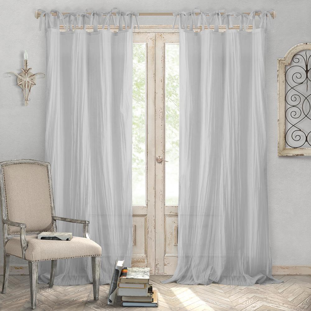 Jolie Gray Crushed Semi Sheer Tie Top Window Curtain - 52 in. W x 95 in. L