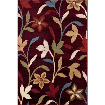 Modern Contemporary Leaves Design Burgundy 7 ft. 10 in. x 10 ft. 2 in. Indoor Area Rug