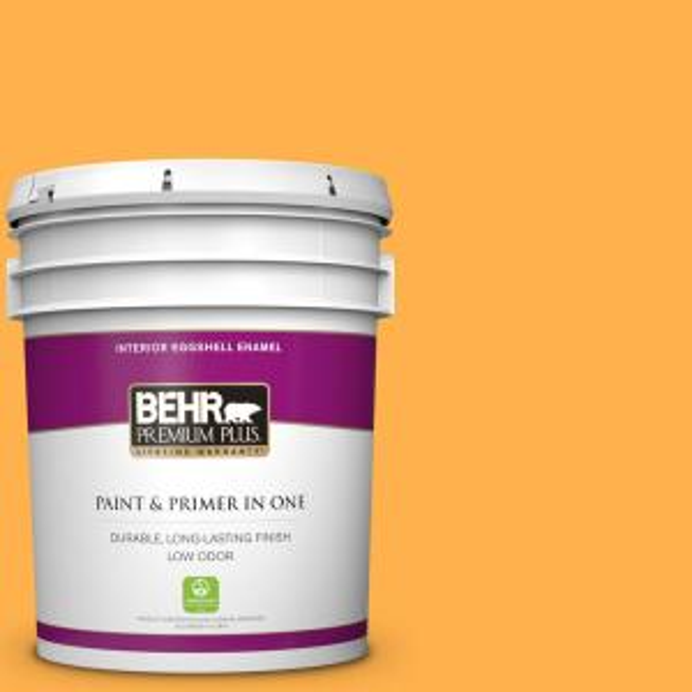 Behr Premium Plus 5 Gal P250 6 Splendor Gold Eggshell Enamel Low Odor Interior Paint And Primer In One 230005 The Home Depot