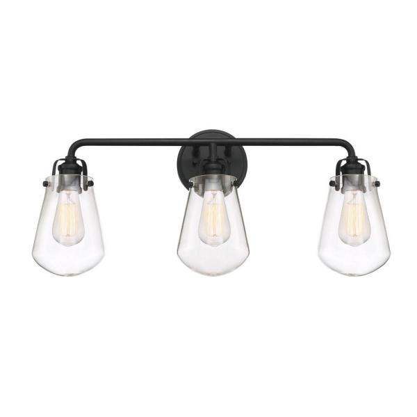 Elliott 3-Light Matte Black Bath Bar Vanity Light
