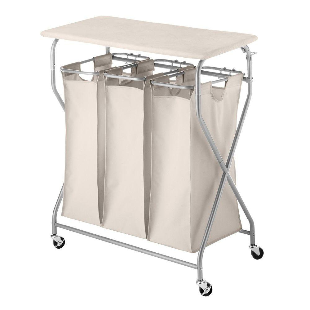 Whitmor Easy Lift Triple Laundry Sorter With Folding Table