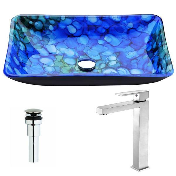 ANZZI Voce Series Deco-Glass Vessel Sink in Lustrous Blue with Enti Faucet in Brushed Nickel