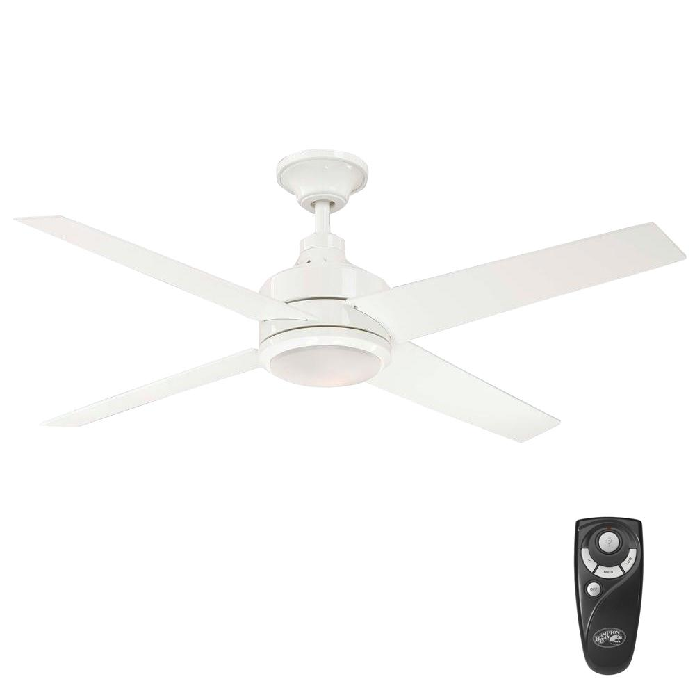 Hampton Bay Mercer 52 in. Indoor White Ceiling Fan with Light Kit and Remote Control