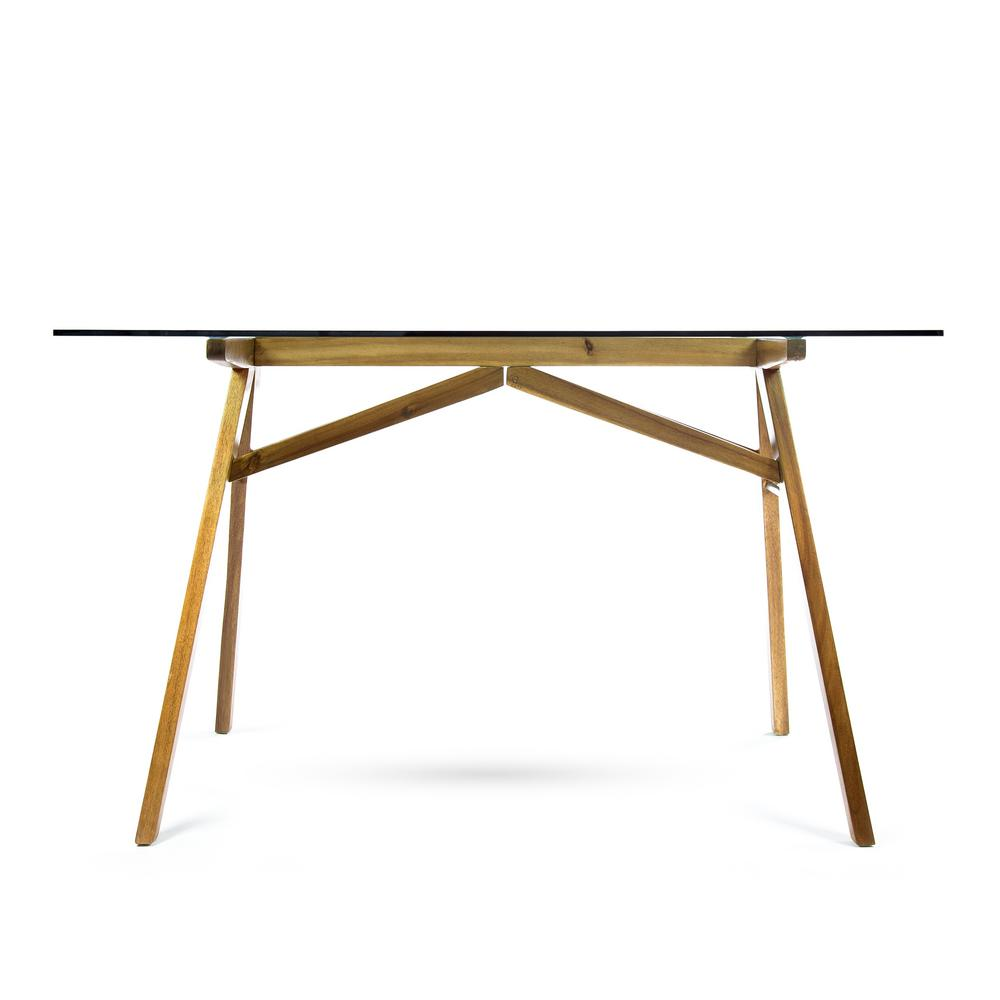 Camila mid century modern dusk gray tempered glass desk with natural stained acacia wood frame