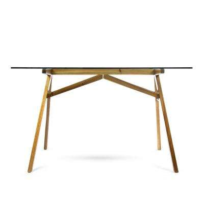 Camila Mid-Century Modern Dusk Gray Tempered Glass Desk with Natural Stained Acacia Wood Frame
