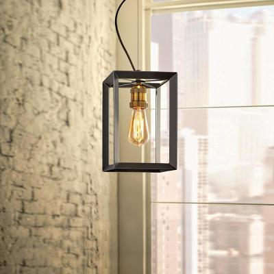 Walden Forge 1-Light Black Frame Pendant with Antique Brass Socket