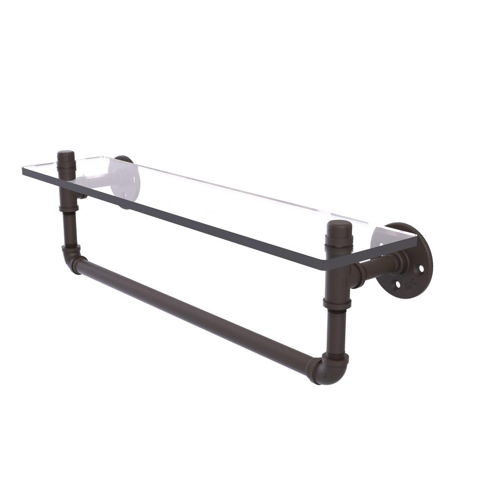 Allied Brass Pipeline Collection 22 in. Glass Shelf with Towel Bar ...