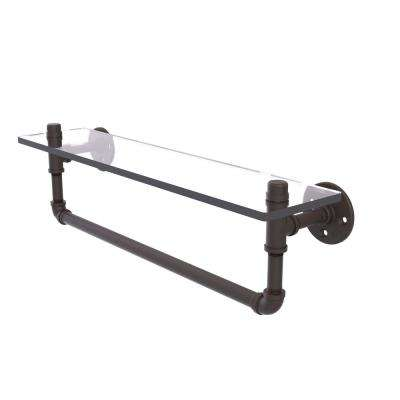 Pipeline Collection 22 in. Glass Shelf with Towel Bar in Oil Rubbed Bronze