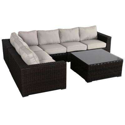 Santa Monica 5-Piece Wicker Patio Sectional Seating Set with Fabric Tan Cushions