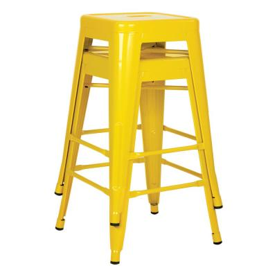 24 in. Yellow Steel Backless Barstool (2-Pack)
