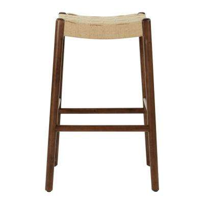Kai 30 in. Classic Walnut Stool with Jute Webbing