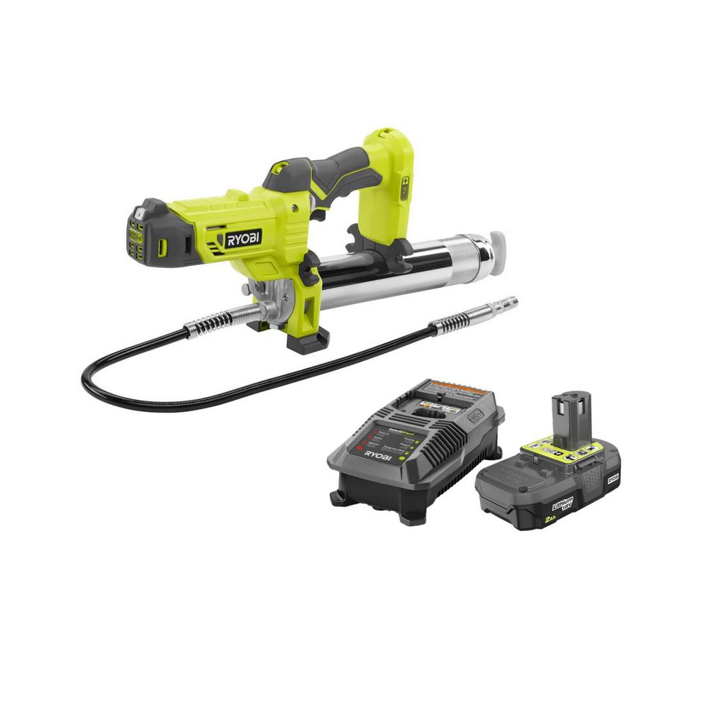 RYOBI 18-Volt ONE+ Grease Gun Kit with (1) 2.0 Ah Lithium-Ion Battery and Dual Chemistry Charger