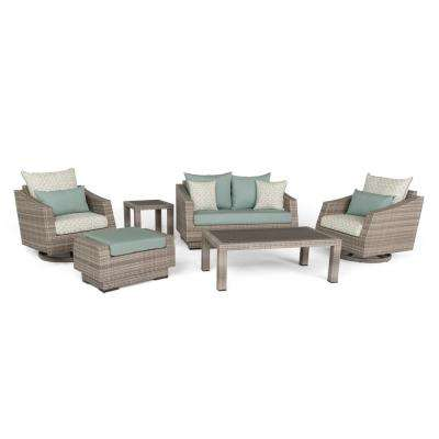 Cannes 6-Piece All-Weather Wicker Patio Love and Motion Club Chair Conversation Set with Spa Blue Cushions