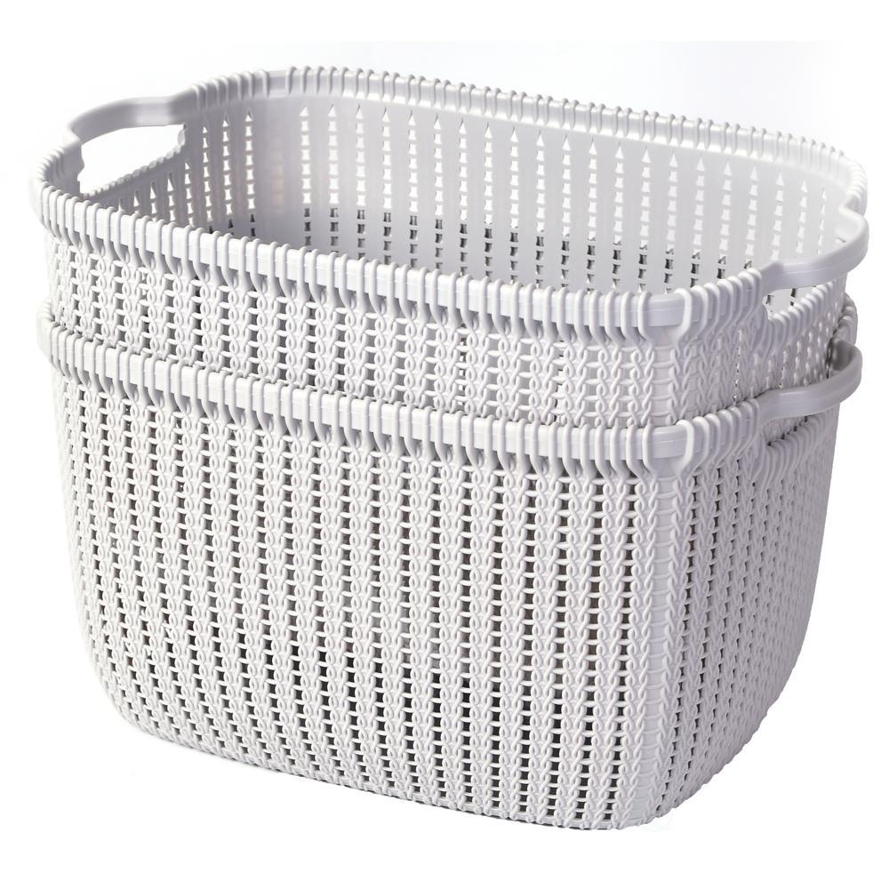 Plastic Wicker Basket Grey Large