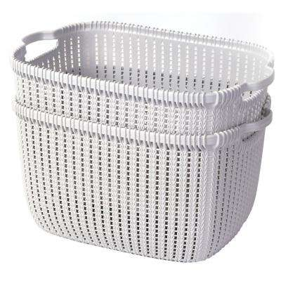 11 in. H x 16 in. W Plastic Wicker Basket Grey Large (Set of 2)
