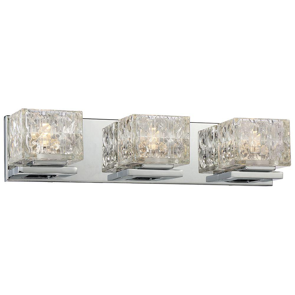 bathroom vanity lights 48 inches. 3 Light Chrome LED Bath Vanity Integrated  Lighting The Home Depot