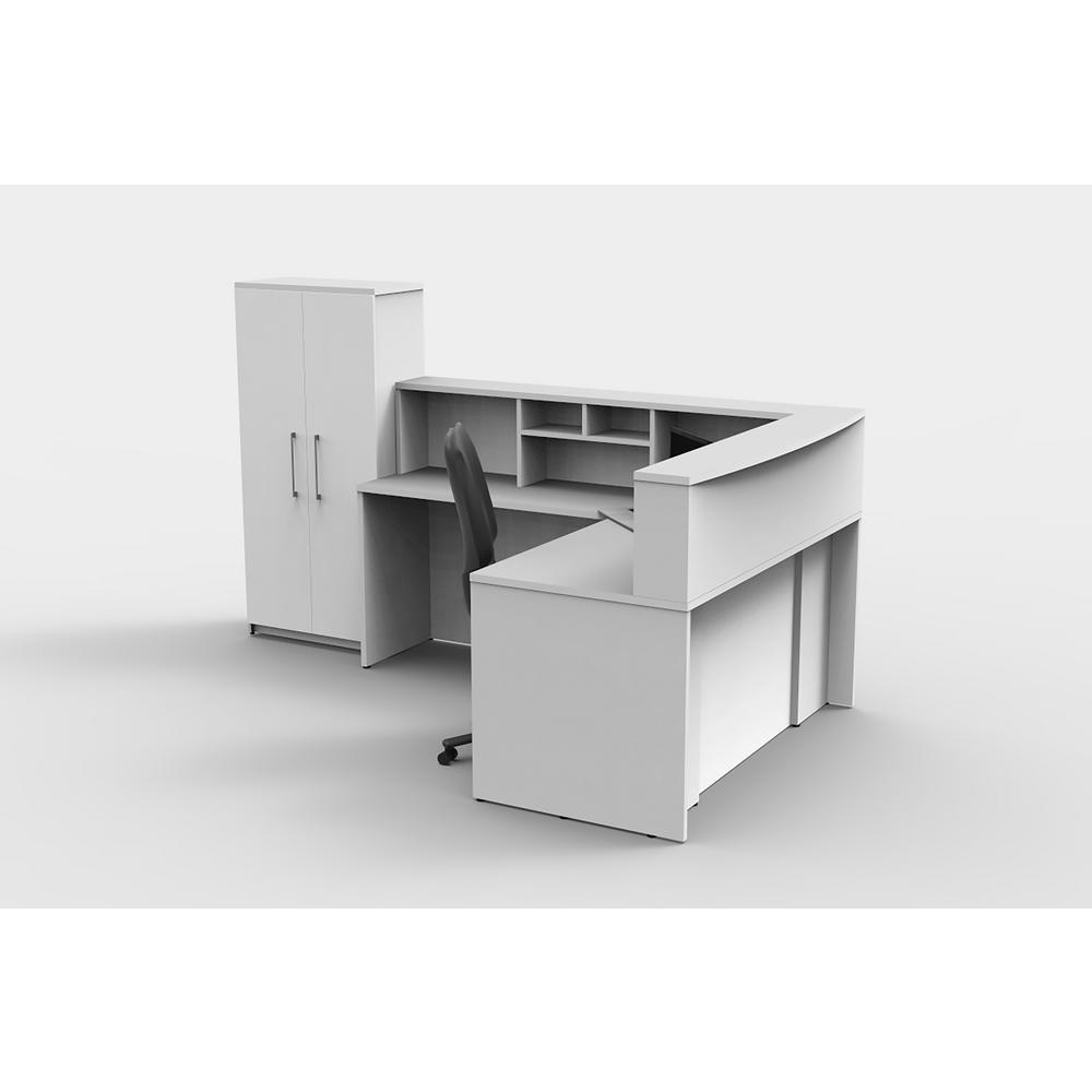 5-Piece White Office Reception Desk Collaboration Center