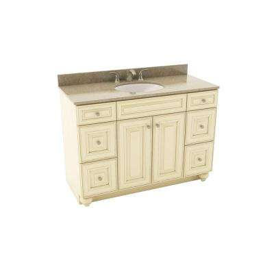 Savannah 49 in. Vanity in Hazelnut with Silestone Quartz Vanity Top in Quasar and Oval White Sink