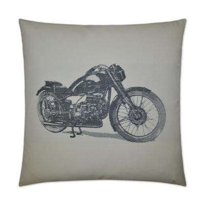Motocycle Feather Down 24 in. x 24 in. Standard Decorative Throw Pillow