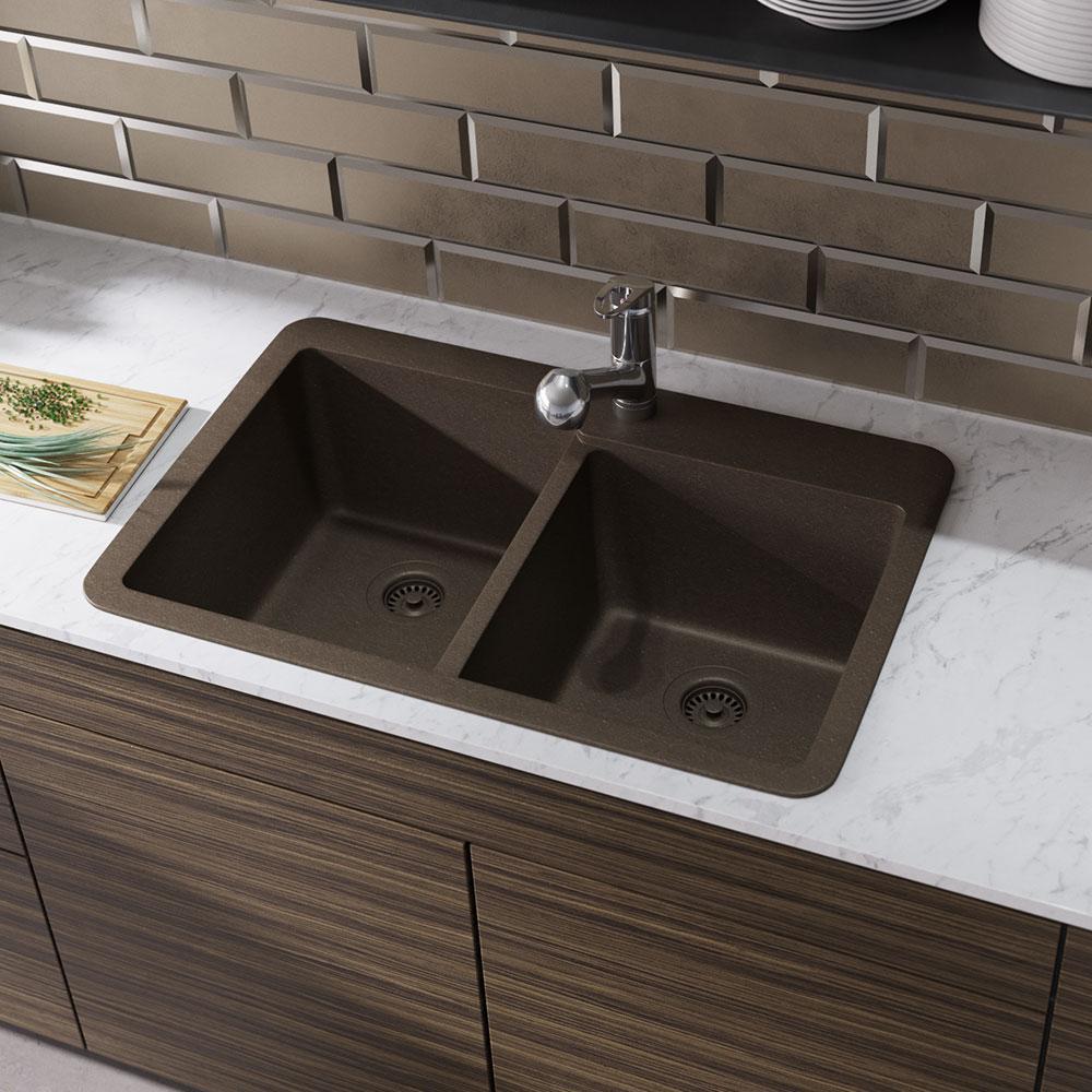 Topmount Composite Granite 33 in. Offset Double Bowl Kitchen Sink in Umber