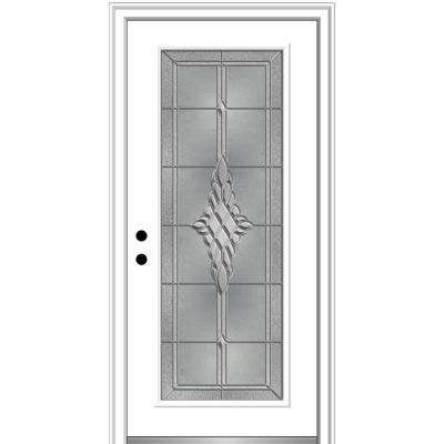 32 in. x 80 in. Grace Right-Hand Inswing Full-Lite Decorative Primed Steel Prehung Front Door, 4-9/16 in. Frame