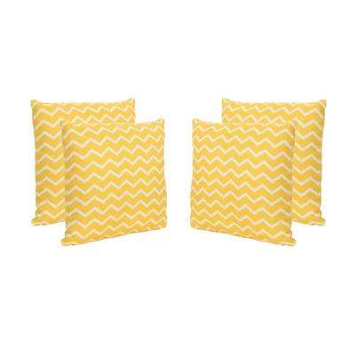 Yellow Chevron-Patterned Square Outdoor Throw Pillows (Set of 4)