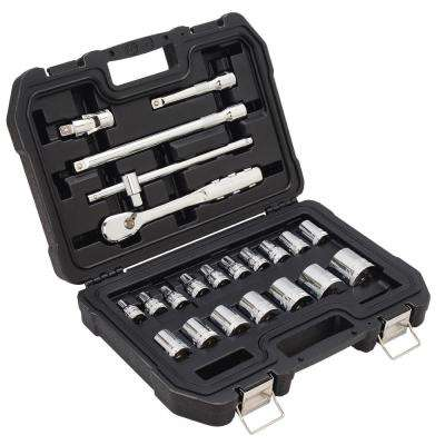 1/2 in. Drive Metric Socket Set with Ratchet (22-Piece)
