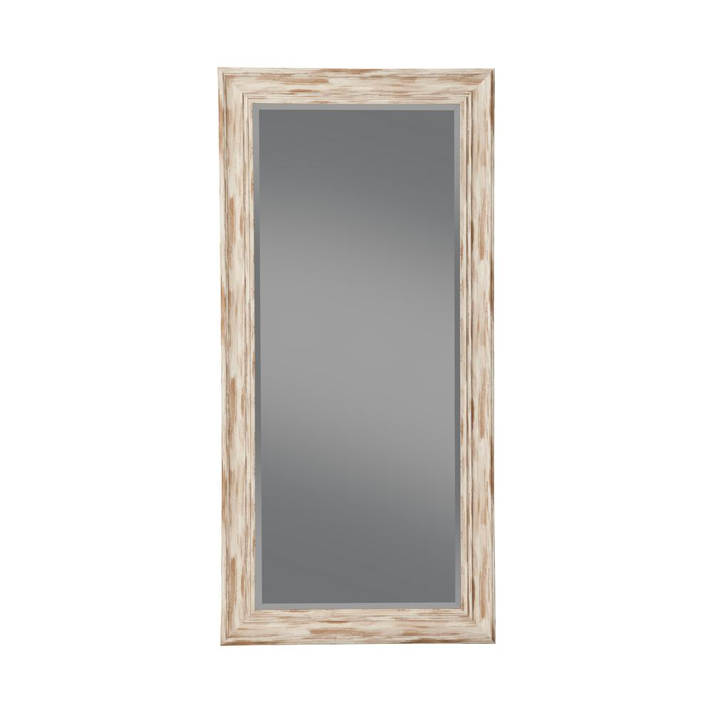 Martin Svensson Home Oversized White Glass Beveled Glass Full Length Farmhouse Mirror 65 In H X 31 In W 18011 The Home Depot