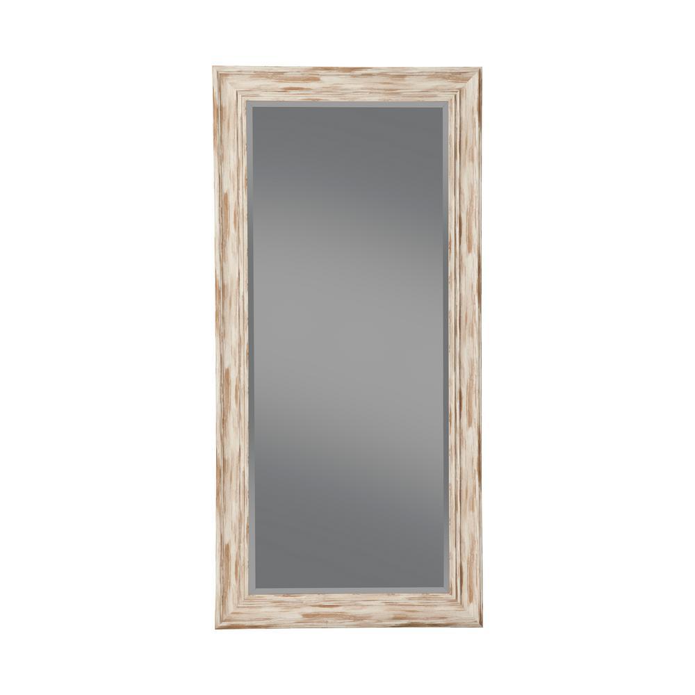 Farmhouse Antique White Wash Leaner Floor Mirror
