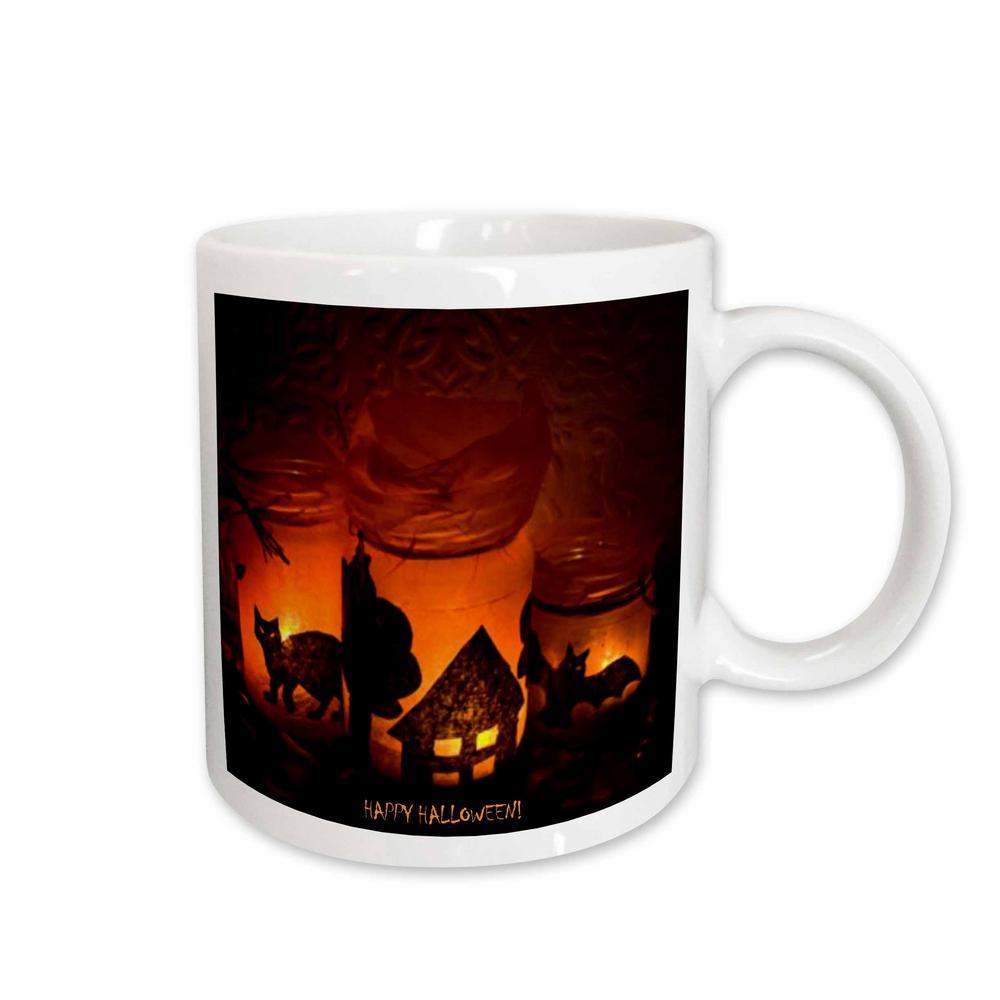 Sandy Mertens Halloween Designs 11 oz. White Ceramic Halloween Cat, House and Bat Luminaries Mug
