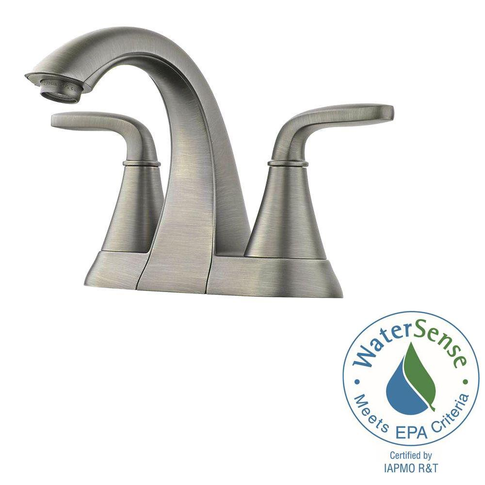 Pfister Pasadena 4 in. Centerset 2-Handle Bathroom Faucet in Slate ...