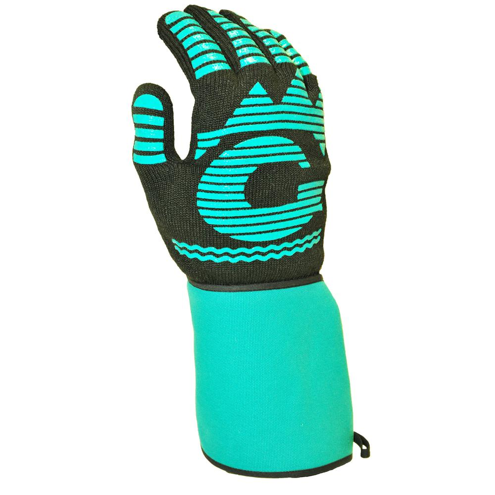 G & F Products 1685 13 in.Long Heat Resistant BBQ Grilling cooking glove mitt with Extra long and wide canvas cuff - 1 Piece