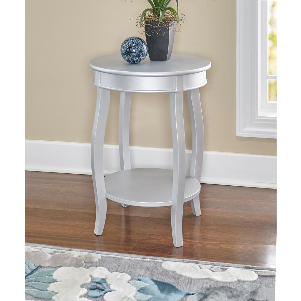 Powell Silver Round Table With Shelf