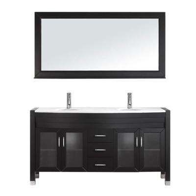 Ava 63 in. W Bath Vanity in Espresso with Stone Vanity Top in White with Round Basin and Mirror and Faucet