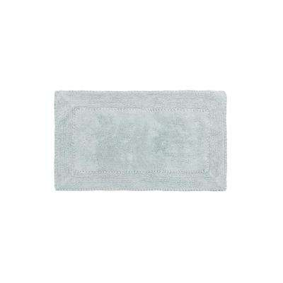 Cotton Ruffle 17 in. x 24 in. Bath Rug in Aqua