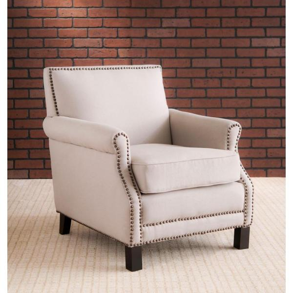 Easton Taupe/Java Linen Club Arm Chair