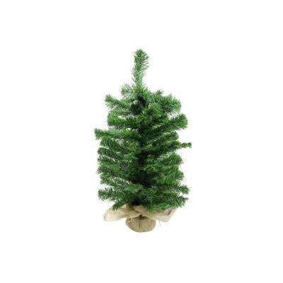 2 ft. Unlit 2-Tone Balsam Fir Artificial Christmas Tree in Burlap Base